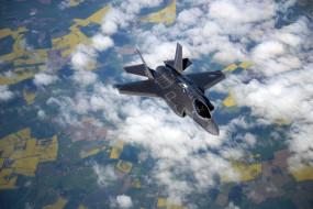 F-35B, полет, ландшафт