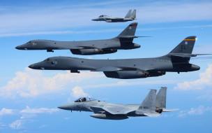 F-15s, Rockwell B-1B Lancers, небо, полет