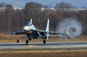 истребитель, взлет, ввс россии, аэродром, Су-30СМ