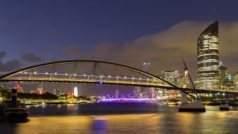 goodwill bridge,  brisbane, города, брисбен , австралия, простор