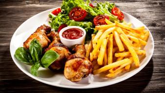 курица, салат, картофель, базилик, фри
