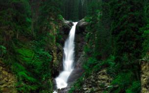 природа, водопады, водопад, лес, деревья