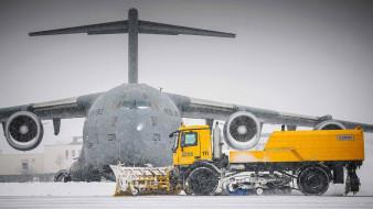 аэродром, военно-транспортный, military, aircraft, snow, us air force, зима, снег