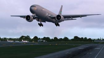 взлет, ввс сша, боинг, военно-транспортный самолет, boeing 777