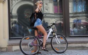 взгляд, девушка, велосипед, фон