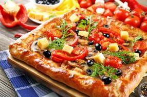 еда, пицца, помидоры, маслины, сыр