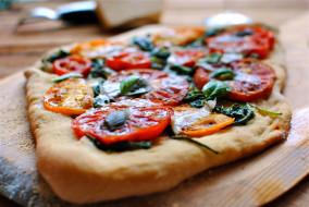 шпинат, помидоры, пицца