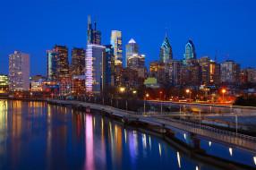 США, Филадельфия, река, Philadelphia, ночь, огни