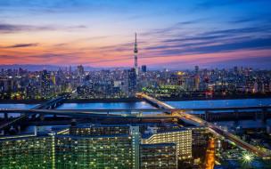 мегаполис, Tokyo, огни, Япония, ночь, Токио