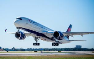 civil aviation, 4k, пассажирский самолет, Airbus A350, гражданская авиация, линии delta air, airbus a350-900