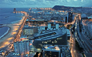 европа, spain, europe, барселона, cityscapes, современные здания, вечер, испания, побережье