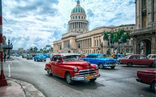 гавана, куба, города, гавана , эль, капитолио, здание, парламента, кубы, капитолий, старые, автомобили