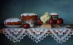 праздничные, пасха, цыпленок, яйца, куличи, весна, натюрморт
