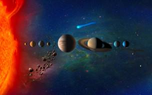 космос, сатурн, уран, астероиды, digital, universe, планеты, марс, комета, земля, planets, in, solar, system, солнечная, система, юпитер, венера, меркурий, нептун, звёзды