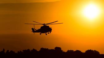 военная авиация, вертолет, silhouette, ми24