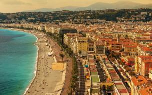 ницца, франция, города, ницца , пляж, курорт, средиземное, море, побережье