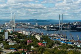 владивосток, россия, города, - панорамы, бухта, золотой, рог, залив, петра, великого, мост, порт, город