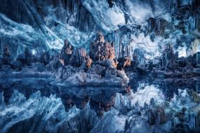 природа, айсберги и ледники, blue, cave, water, пещеры, синий, вода, отражение, wallhaven