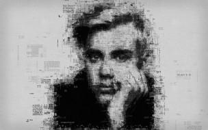 джастин бибер, канада, портрет, газетное искусство, плакат, типография, певец, 4к
