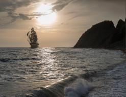 парусник, закат, корабль, море, скалы