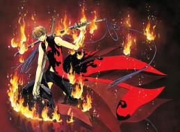 аниме, tsubasa reservoir chronicles, ножны, меч, плащ, огонь, оружие, парень