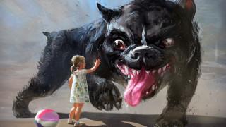 рисованное, животные, собака, девочка