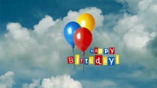 праздничные, день рождения, надпись, шарики