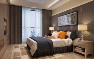 подушки, комната, кровать