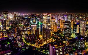 городской пейзаж, панорама, освещение, современные здания, токио, ночные пейзажи, япония