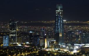 сантьяго, Чили, города, сантьяго , огни, пейзаж, городской, мегаполис, современный, небоскреб, ночь, santiago, de, chile