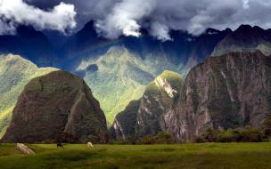 природа, горы, облака, радуга