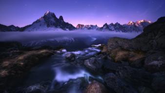 природа, горы, небо, камни, облака, поток