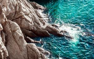 природа, побережье, море, скалы, вода