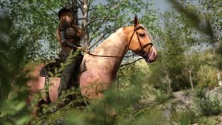 девушка, фон, лошадь, взгляд