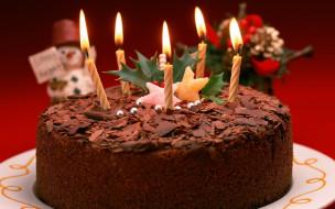 свечи, еда, торт