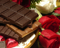 шоколад, еда, цветы, розы