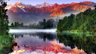 обои для рабочего стола 1920x1080 природа, пейзажи, лес, река, горы, туман