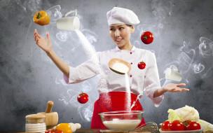 разное, компьютерный дизайн, повар, улыбка, еда, девушка, помидоры, томаты