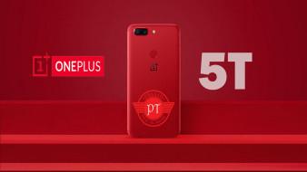 lava red colour, 5t, OnePlus, logo, hi-tech, смартфон