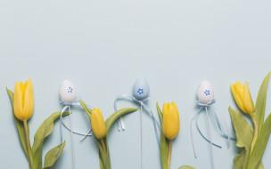 Пасха, тюльпаны, blue, eggs, Easter, flower, праздник, tulips, декор