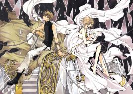 аниме, tsubasa reservoir chronicles, стекла, цепи, плащ, девушка, парень