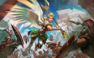 ангел, бойцы, девушка, воин