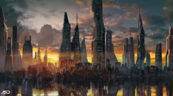 город, отражение, здания, Jude Smith, архитектура