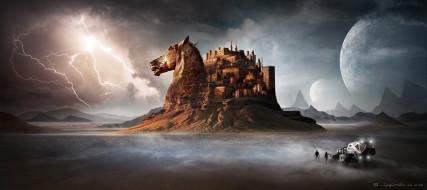 пустыня, конь, голова, лошадь, горы, автомобиль, люди, замок, молния, гроза