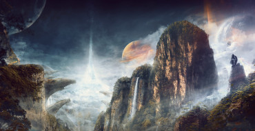 горы, водопад, планета, скалы, небо, лес, ущелье, деревья, облака