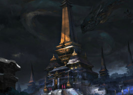 храм, дракон, арт, фантастика