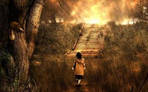 лестница, дождь, тараканы, трава, ребенок, деревья