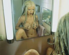 грудь, певица, блондинка, зеркало, Кристина Агилера