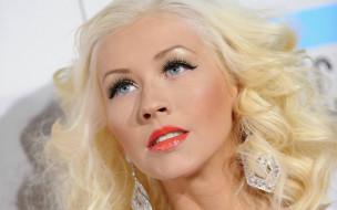 блондинка, лицо, серьги, Кристина Агилера, певица