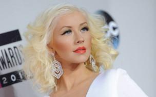 серьги, певица, блондинка, лицо, Кристина Агилера